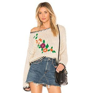 RAGA Carlotta Embroidered Chunky Knit Sweater